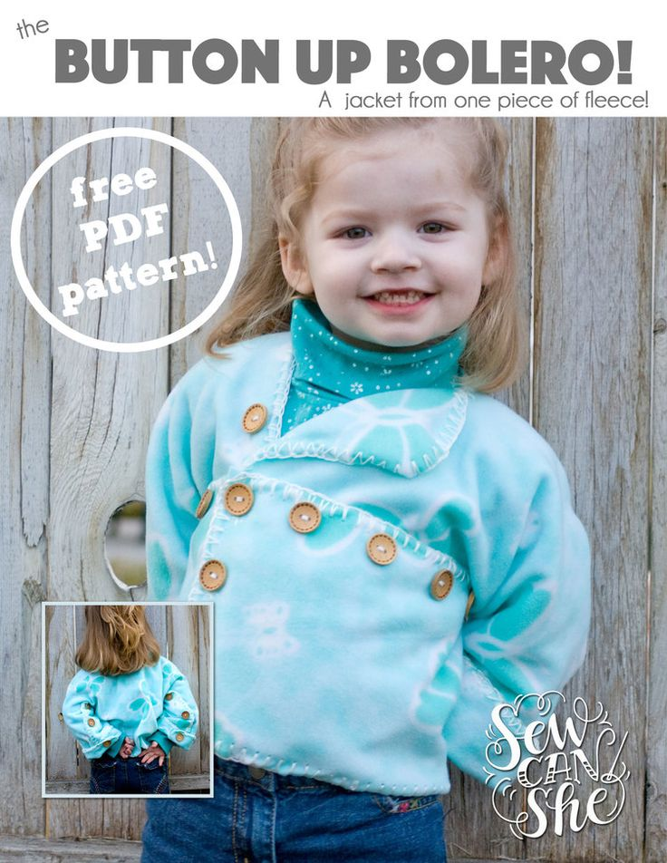 I saw a sneak peek at the Black Friday ad for Jo-Anns Fabrics and guess  what's going to be 75% off? FLEECE! Oh, I hope I don't get in trouble for  telling you that. :)  So I thought I would share with you a sweet little pattern that I designed  just for fleece fabric. It's a bolero jacket that folds together like  fabric origami and is secured only with buttons. And since fleece doesn't  fray, you can choose to finish the edges or not.