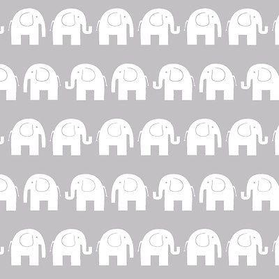 Baumwollstoff Meterware 0,5lfm 100% Baumwolle Kinderstoff Dekostoff Elefant Grau