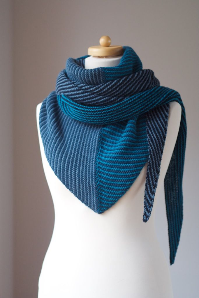 Corners, Edges, Stripes Shawl by Martina Behm – Blue Version