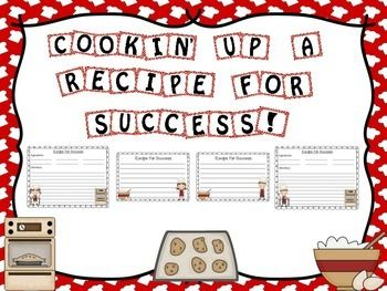 Here's a fun cooking themed bulletin board set. This set contains the letters to create the title Cookin' or Cooking Up A Recipe For Success! This set also contains two different style recipe cards for your students to write up their recipe for success.