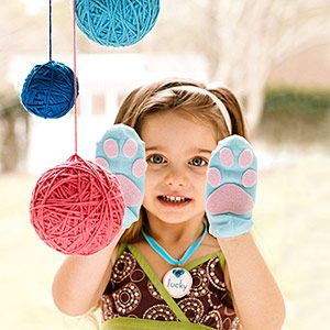 Cat Sock Paws  Cover your little kitten's paws with ankle socks, embellished with adhesive-backed pink felt. As a fun birthday party activity, create an obstacle course with cardboard-box tunnels, homemade scratch posts, and dangling yarn balls.    Get the pattern here   Birthday Bash! 8 Fantastic Party Themes   Carnival Party! Host a Backyard Carnival Bash   Land o' Candy Birthday Party