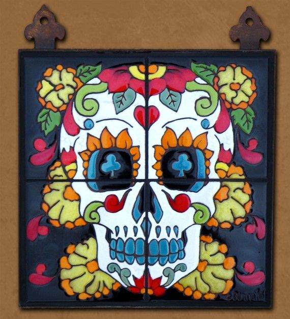 Day of the Dead Mr. Calacas Hand Glazed Tile by CarlyQuinnDesigns on Etsy
