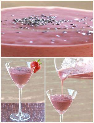 Batido con fresas y semillas de chia.
