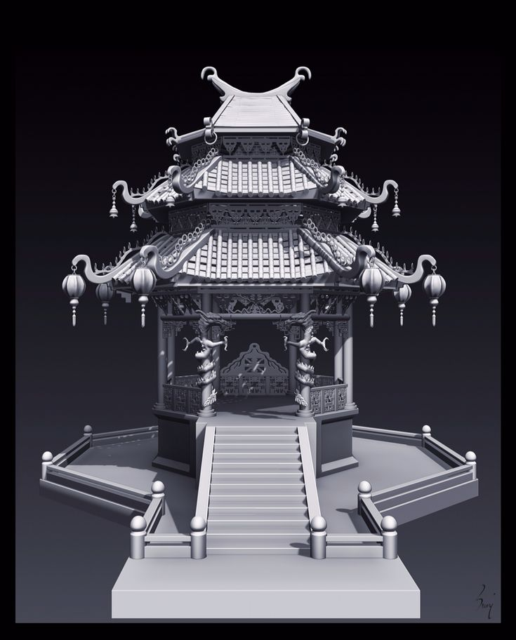 Chinese Temple ... Done in ZBrush