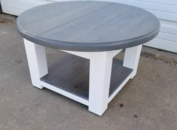 Round Farmhouse Coffee Table With Gray Stained Top And Lower Shelf Rustic Furniture Reclaimed Wood Table Farmhouse Style Coffee Table Farmhouse Round Coffee Table Living Room Round Coffee Table Diy