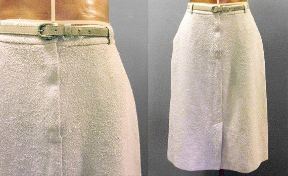 1970's Beige Pencil Skirt With Belt by RebelRoseVintage on Etsy, $15.00 #RebelRoseVintage