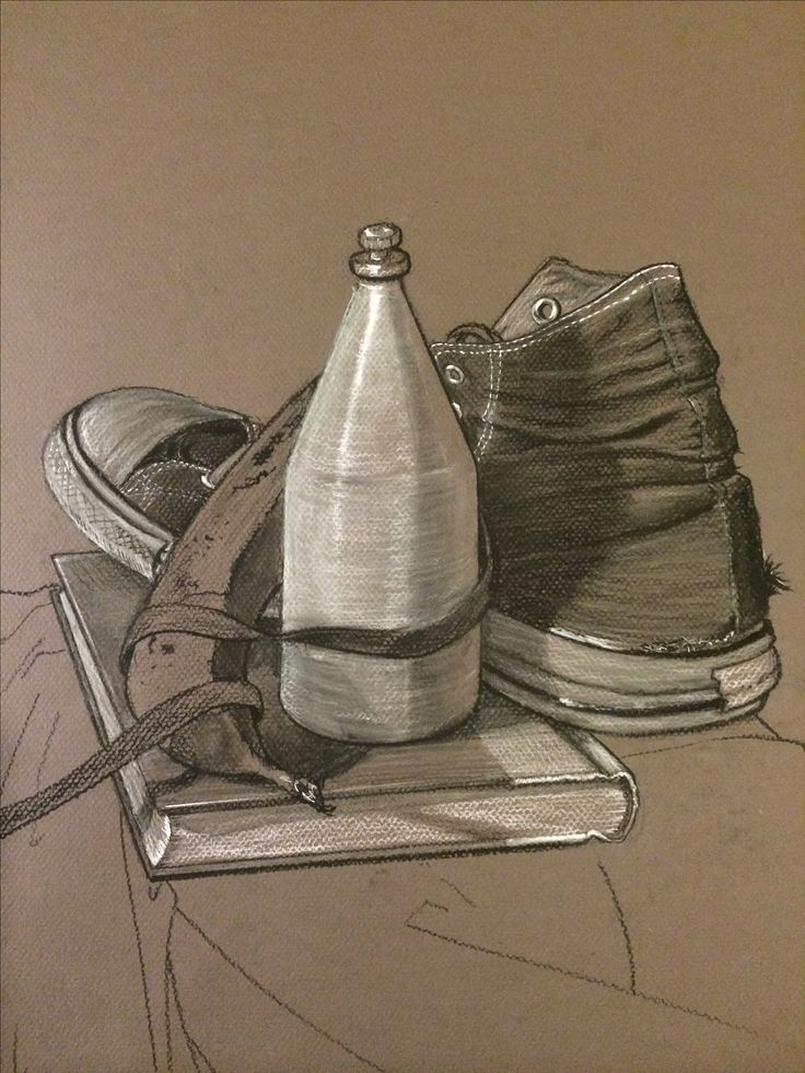 Charcoal drawing of still life including old spice and Chuck Taylor converse.