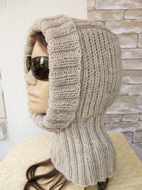 Womens hat knit Hood Hat Snood Ski Mask Face by Ebruk