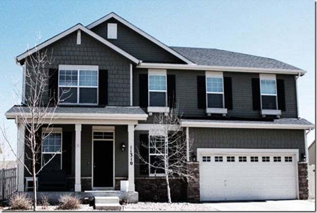 exterior house color.. Dark Door, Dark Shutters, Grey Siding and Shake, White Trim and Gutters