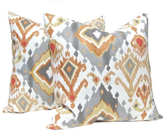 Beautiful Ikat euro sham pillow cover in shades of gray, rust and gold on an IVORY background. (not white) Made from 100% cotton designer home