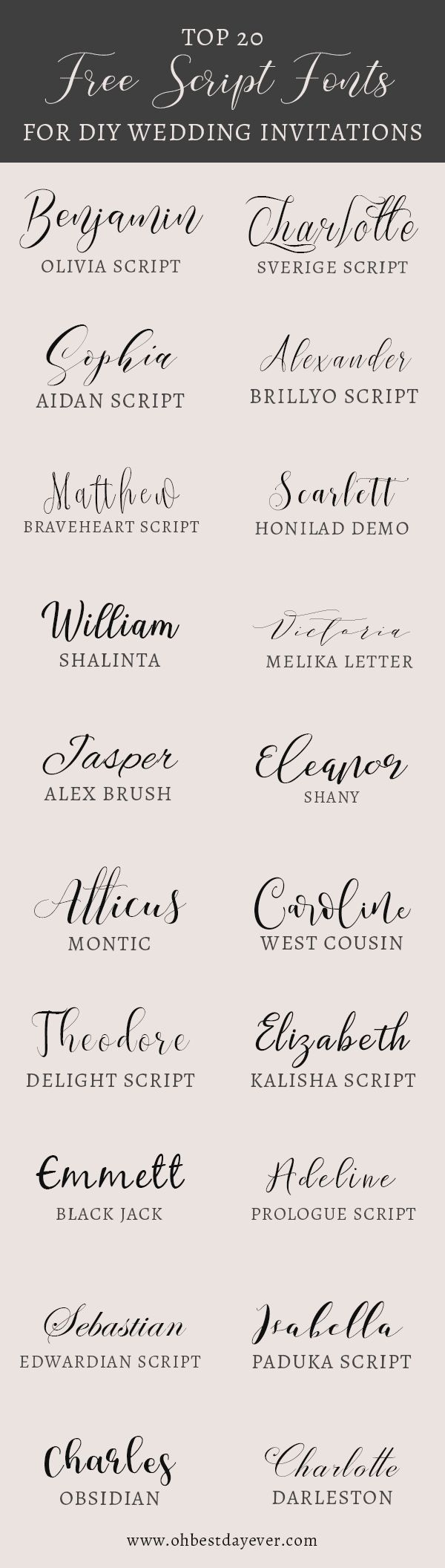 20 Fancy Free Script Fonts for DIY Wedding Invitations