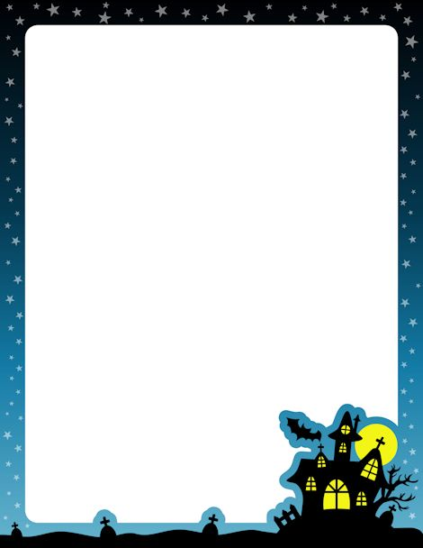 Printable haunted house border. Free GIF, JPG, PDF, and PNG downloads at http://pageborders.org/download/haunted-house-border/. EPS and AI versions are also available.