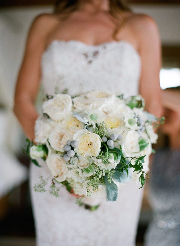 white wedding bouquets - photo by Megan Sorel Photography http://ruffledblog.com/lush-california-garden-wedding