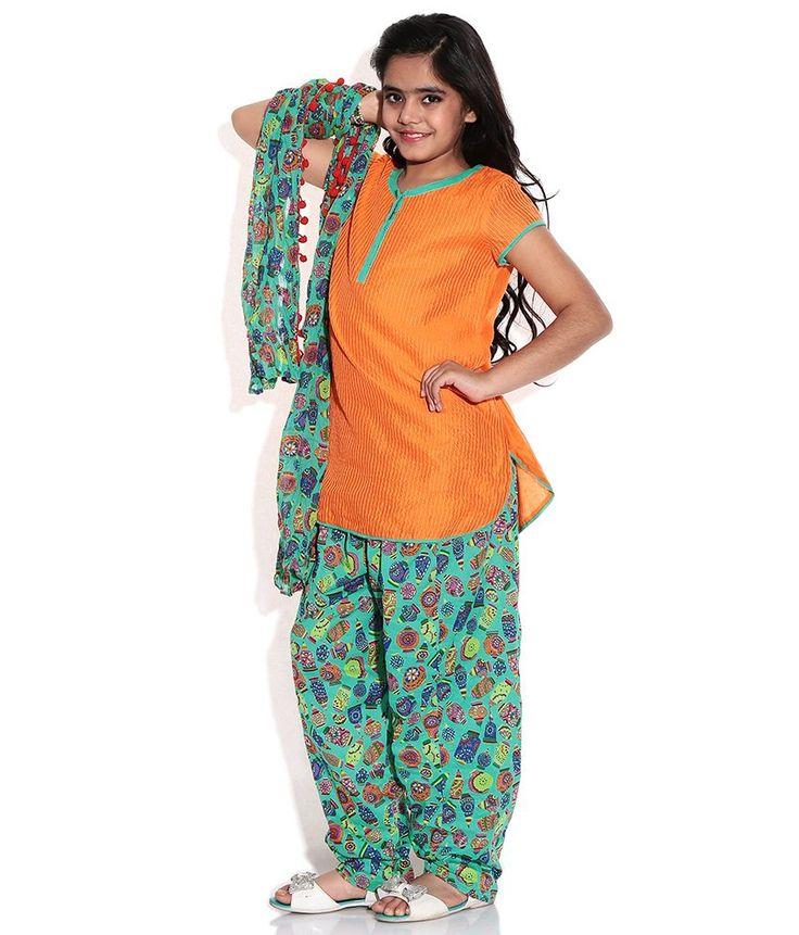Biba Orange Casual Straight Cap Sleeve Salwar Kameez