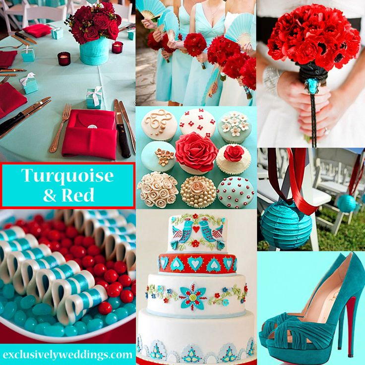 Turquoise and Red Wedding Colors