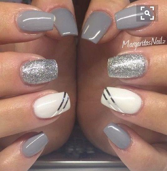 Gray, silver and white polish combo