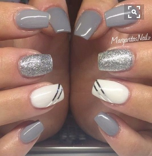 Gray, silver and white polish combo