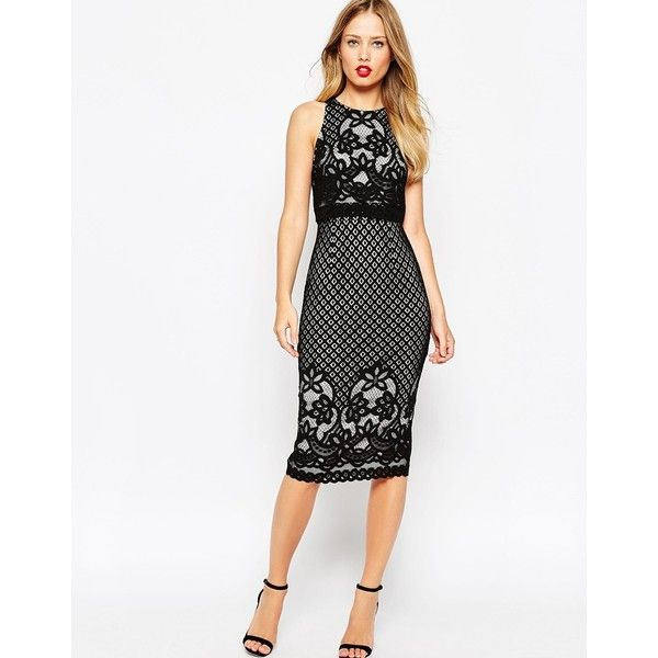 ASOS Floral Lace Crop Top Body-Conscious Midi Pencil Dress ($48) ❤ liked on Polyvore featuring dresses, black, floral bodycon dress, black cocktail dresses, lace overlay dress, floral dress and black midi dress