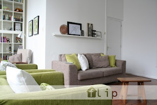 Livingroom in natural colors with a little bit off green