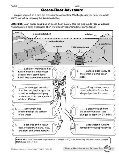OCEAN floor adventure worksheet