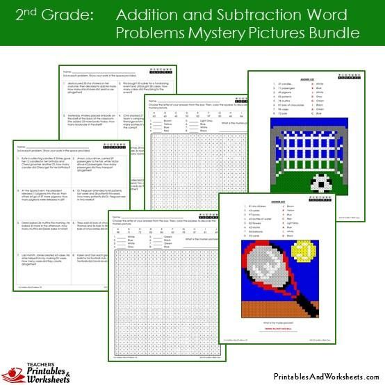 2nd Grade Addition and Subtraction Word Problems Coloring Worksheets - Printables & Worksheets