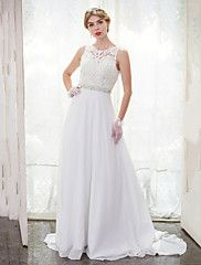 A-Line+Scoop+Neck+Chapel+Train+Chiffon+Lace+Wedding+Dress+with+Beading+Lace+Button+by+LAN+TING+BRIDE®+–+AUD+$+897.80