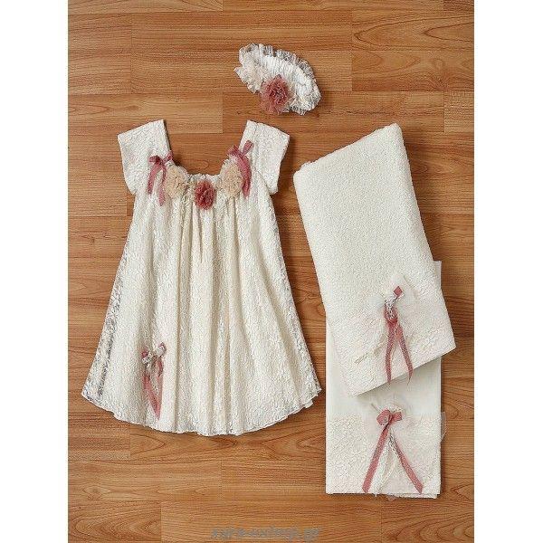 Βαπτιστικό φόρεμα οικονομικό New Life από δαντέλα διακοσμημένο με τούλινα λουλούδια και κορδέλες, Επώνυμα βαπτιστικά φορέματα οικονομικά, Βαπτιστικά ρούχα για κορίτσι προσφορά, Φόρεμα βαπτιστικό τιμές, Βάπτιση φορεματάκια τιμές-προσφορές,