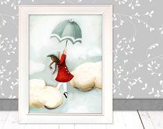 """Kinderbild """"Himmel""""  für´s Kinderzimmer (Poster) von Pipapier auf DaWanda.com"""