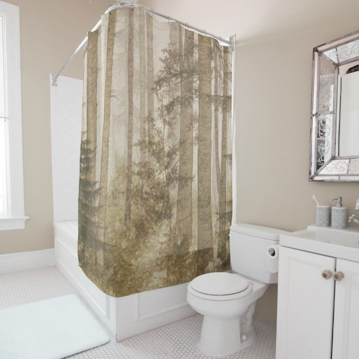 Brown Misty Forest Shower Curtain Gold Shower Curtain White