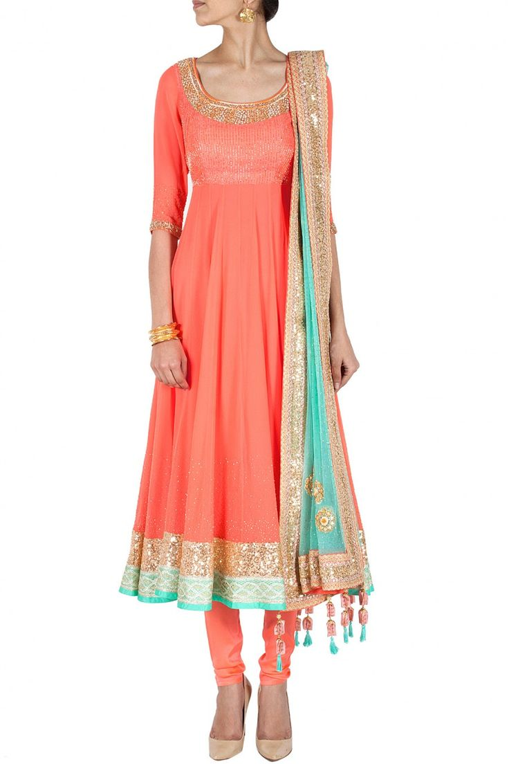 Peach embroidered anarkali BY MADSAM TINZIN. Shop now at perniaspopupshop.com #perniaspopupshop #clothes #womensfashion #love #indiandesigner #MADSAMTINZIN #happyshopping #sexy #chic #fabulous #PerniasPopUpShop