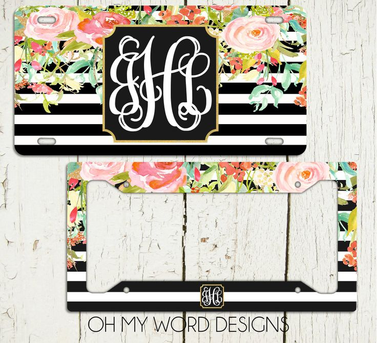 monogram car tag set personalized license plate monogram car tag monogrammed license plate flower car tag car tag frame license plate frame by