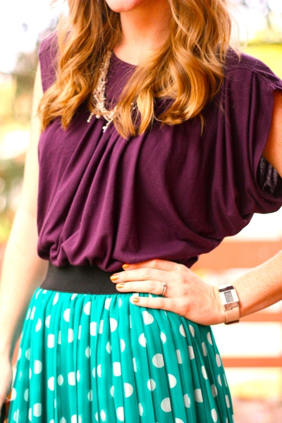 purple & light blue; love the draping of this outfit