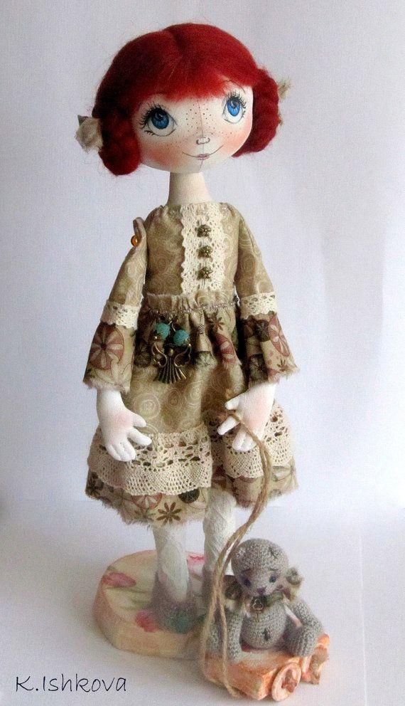 Textile Cloth Art doll Zoui fairyred OOAK by ArtDollsByKseniya
