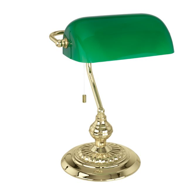 Traditional Brass Bankers Lamp with Green Glass Shade - Class 2