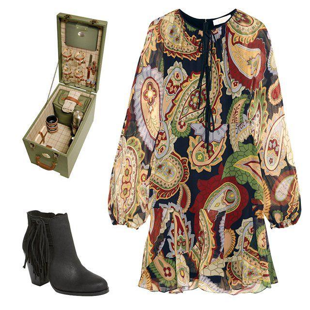 Laura Ashley Keynes check picnic chest, $200; lauraashleyusa.com; Chloé paisley-print silk chiffon minidress, $2,350; net-a-porter.com; Vince Camuto 'Harlin' fringe bootie, $159; shop.nordstrom.com