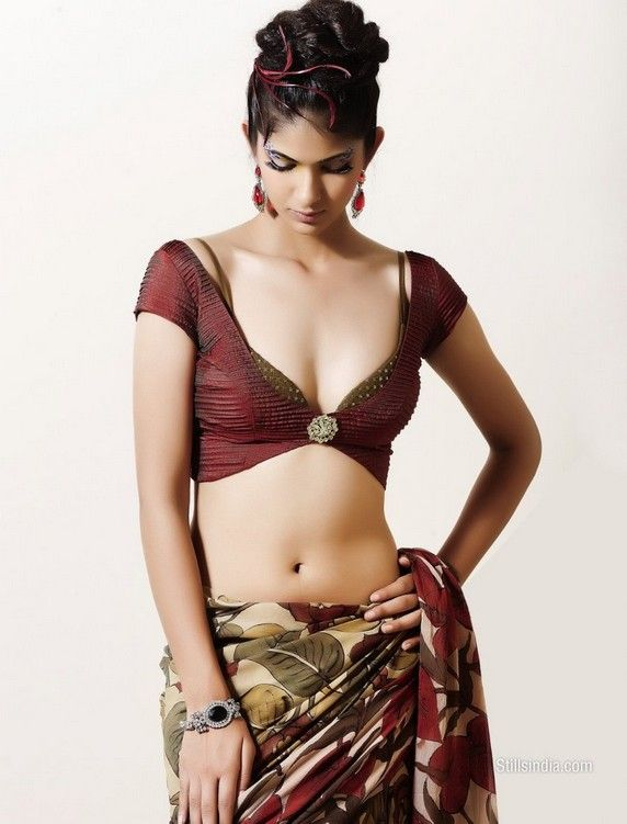 lovely print on Saree, & sensuous Blouse