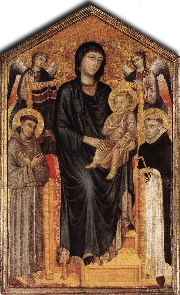 Мадонна с младенцем на троне с ангелами,св. Франциском и св. Домеником. Чимабуэ. Галерея Уффици, Флоренция.