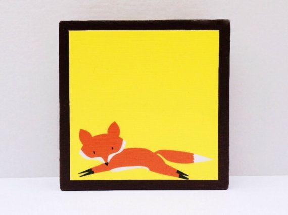 Run Little Red Fox Art Block Sunny Yellow by WoodlingsArt on Etsy, $15.00