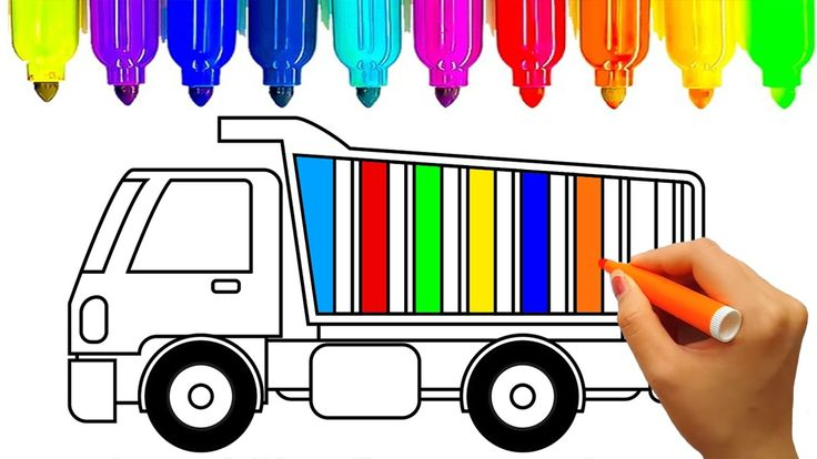 Learn colors for kids with dump truck coloring pages | Fun coloring vide...