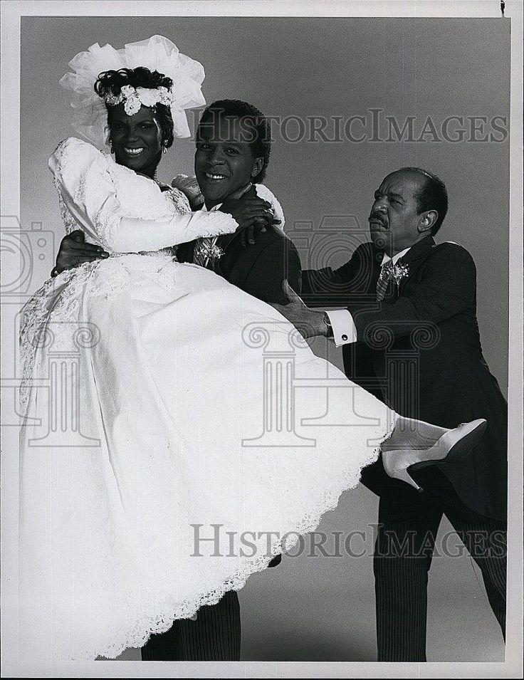 1989 Press Photo Clifton Davis Anna Maria Horsford and Sherman Hemsley in Amen