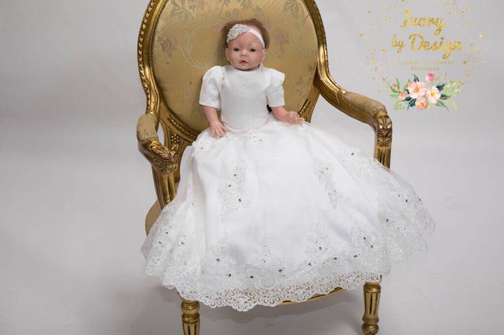 Elina Baby White or Ivory Christening Gown Baptism Dress with Gorgeous Lace sleeves full skirt Heirloom Gowns baby Bonnet  Baby headband by Ivorybydesign on Etsy https://www.etsy.com/au/listing/520182474/elina-baby-white-or-ivory-christening