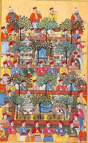 Gardens made of sculpted sugar being carried at the festivities celebrating the circumcision of the sons of Sultan Ahmed III in the early 18th century. The gardens contain fruit trees, beds of tulips, pavilions and ornamental pools, one with a fountain and the other a rowing boat. The miniature painting is by Levni. Surname-i Vehbi.  TOPKAPI PALACE MUSEUM.
