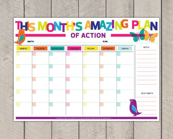 Diy Rainbow Calendar : Best ideas about monthly planner printable on pinterest
