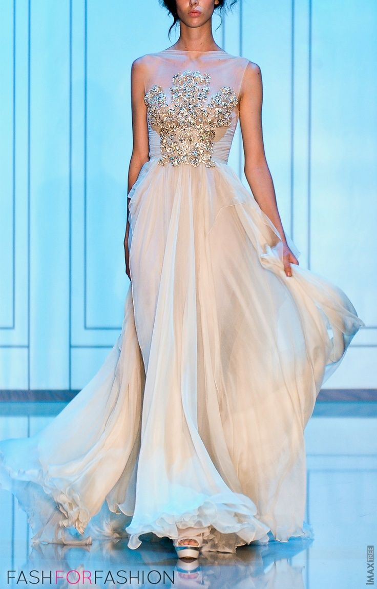 white silk dress by Elie Saab #prom #pageant #gown