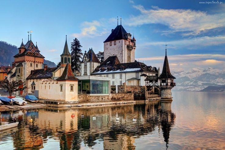 Zamek, Jezioro, Góry, Oberhofen, Szwajcaria