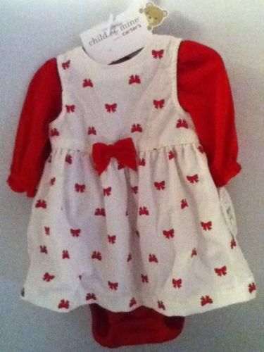 Carters Infant Dress Set Holiday Baby Girl Set Red Bows Nb