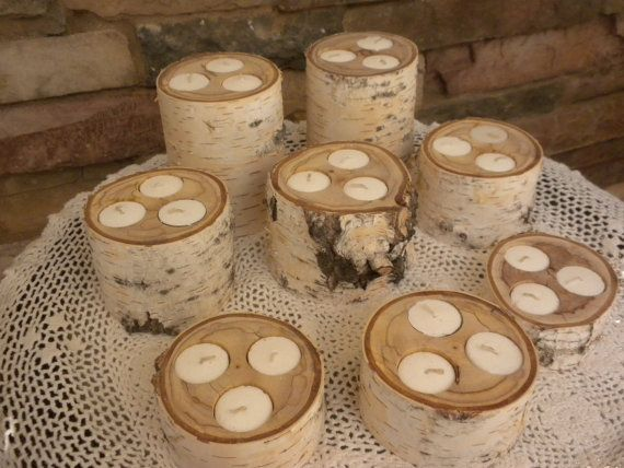 White Birch Tealites Candle Holders Perfect For Weddings Christmas Decorations Centerpieces