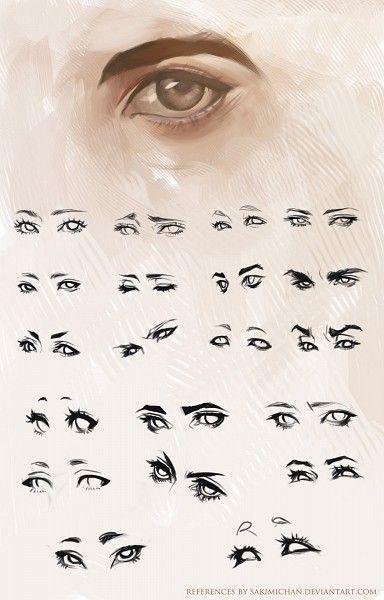Modelos de olhos, para treinar desenho.