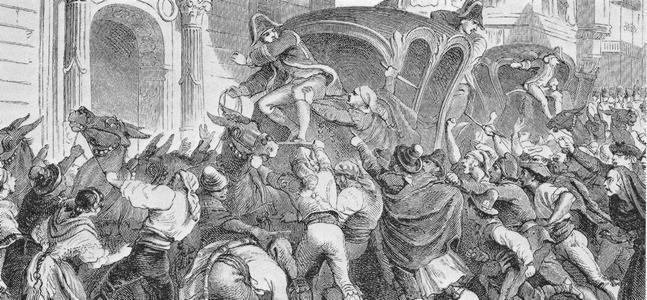 """""""Le 9 avril à Vitoria, la foule veut empêcher le depart de Ferdinand pour Bayonne"""" de Philippoteaux. El motín de Vitoria el 19 de abril de 1808 para evitar que Fernando VII huyera a Francia."""