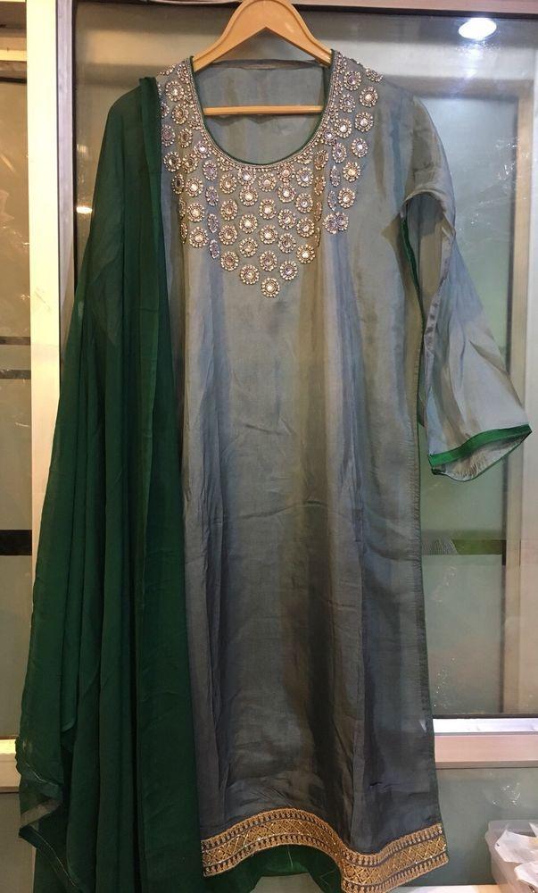 Bollywood Designer Silk Shaded Long Kameez Stone Embroidery Indian Salwar Dress  | eBay